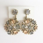 gray & brown rhinestone dangle earring[e-907]