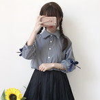 【tops】ガーリー系チェック柄七分袖POLOネックシャツ17828092