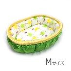 ふーじこちゃんママ手作り ぽんぽんベッド(サテングリーン・レースお花柄)Mサイズ 【PB11-124M】