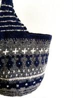 navy+grey+white編み込み模様のワンショルダーBAG