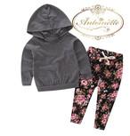 赤ちゃん 女の子 洋服 70 80 90 セットアップ 花柄 冬  パーカー