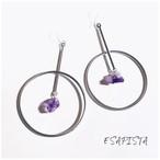 Crystal hoop pierce (silver)