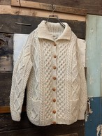old women's aran knit cardigan