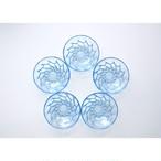 【ガラス深皿 -blue dot- 】retro うつわ 古道具 昭和