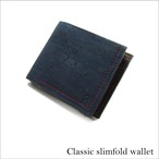 VEGAN MEN'S SLIMFOLD WALLET  BLUE / 二つ折り財布 ブルー&ブラウン コルク製