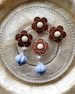 brown flower × silver × blue gray big beads 《再販なし》
