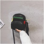PUレザーマルチカラーメッセンジャーバッグ
