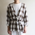 PHEENY【 womens 】rayon ombre check cache-coeur shirts