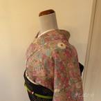 【F様ご予約品】正絹ちりめん 桃花色に菊の小紋