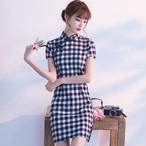 チャイナドレス ワンピース ドレス 改良型チャイナドレス チャイナ風服 スタンドネック 半袖 ショート丈 エレガント 着痩せ 上品 大きいサイズ S M L LL 3L ブラック ネイビー チェック柄