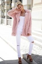レディース もこもこ ジャケット アウター コート かわいい ピンク フェイクファー
