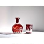 【 冠水瓶 - 紅 - 】 水差し / ピッチャー / 切子 / 昭和 / プレスガラス