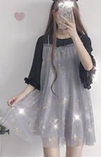 【dress】プリントスカタップスリーブ切り替えデートワンピース14180651