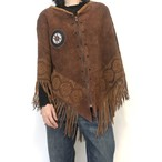 70's Vintage Suede Handcrafted Poncho
