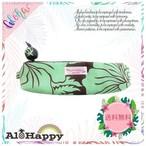 AH20-PC-4 ハワイアンペンケース グリーン 花柄 ハンドメイド プチギフト かわいい コットン 洗える 筆箱 メガネポーチ モンステラ ククイの実 Sサイズ
