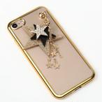 【送料無料】縁ゴールドのソフトケースにスターのチャーム iPhoneケース