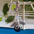【ストラップ】天然石天使の羽ストラップ-大玉-タイガーアイ(ブルー)-(S-015)