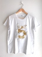 お花とパールビジュー付きNo.5Tシャツ ホワイト