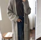 【outer】ファッション無地加厚ロング丈長袖セーターカーディガン24786995