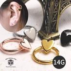 ボディピアス 14G ハート リング 耳 片耳 軟骨 TBP102