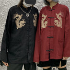 チャイナ風トップス アウター シャツ チャイナ風服 改良唐装 龍柄 中華服 原宿風 スタンドネック 長袖 ブラック 黒い レッド 赤い