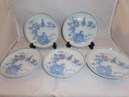 印判染付五寸皿(5客) Blue &white porcelain five plates(bird,flower)