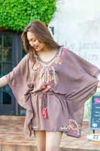 ◆Mon ange Louise◆ EMBROIDERY SHORT KAFTAN ビーチカフタン ワンピース