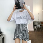 3052.ギンガムチェック柄ミニ丈パンツスカート(ブラック)