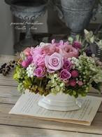 バラのオーバルアレンジメント/ローズピンク/結婚祝い/バースデーギフト/開業祝い/新築祝い/還暦祝い【即日発送】【お届け日指定可能】