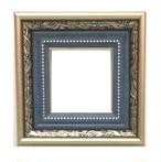 樹脂モールディング アンティークおしゃれフレーム8149シルバーブルー 額縁サイズ100mm×100mm 窓枠サイズ86mm×86mm 2mmアクリル 裏板付 箱なし 壁掛け用