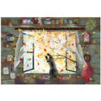 『まてまて~』 窓辺の黒猫シリーズ秋 かわいい子猫のポストカード