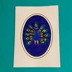 クジャクの刺繍メッセージカード(黄色)