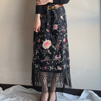 【SALE】vintage fringe embroidery skirt