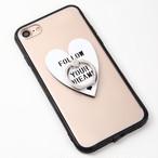 【送料無料】縁ブラッククリアケースにハートのバンカーリング付iPhoneケース