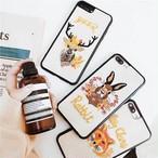 刺繍 可愛い ナチュラル iPhone シェルカバー ケース ウサギ シカ キツネ 大人 ★ iPhone 6 / 6s / 6Plus / 6sPlus / 7 / 7Plus / 8 / 8Plus / X ★ [MD078]