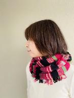 【ソフトバンクホークス日本一おめでとう!送料無料キャンペーン11/26-11/30】フランス製フリンジスヌード    黒×ピンク
