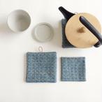 手織り藍染リネンコースター&ポットマットセット(Coaster&Potmat Flower Linen Indigo blue)