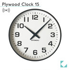 KATOMOKU plywood wall clock 15 km-92BRC ブラウン 電波時計