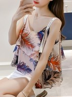 【tops】Loose ruffled floral sleeveless strapless chiffon vest