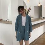 【送料無料】大人きれいなセットアップ ♡ 2点セット ロング ジャケット × ショートパンツ