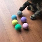 猫のおもちゃ 嬉しい大き目 フェルトボール 大き目L3.5cm 6カラーパック パステルカラー