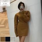 No.654 韓国ワンピース きれいめワンピース 大人可愛いワンピース タイトワンピース ニットワンピース 3color