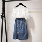 【set】2点セット女子力アップボートネックブラウス+スリットスカート