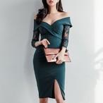 【dress】セクシーワンピースレースボートネックタイトエレガント宴会スリット七分袖