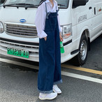 【送料無料】 旬なゆるシルエット♡ ワイドレッグ デニム サロペット オーバーオール オールインワン ワイドパンツ