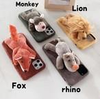 iphoneケース スマホケース iphone11 ケース 韓国 おもしろ 動物 アニマル もこもこ 冬