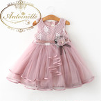 3カラー フリル ギャザー ドレス 花柄 女の子 赤ちゃん ベビードレス 可愛い ピンク ノースリーブ ブルー ホワイト