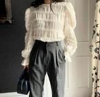 ネックレースブラウス ブラウス 韓国ファッション