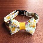 猫の首輪 リボン首輪 グログランリボン 花柄 イエロー