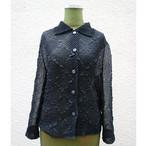Black sheer pleats shirt